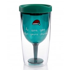"""Celebrate Shop """"He Sees You When You're Drinking"""" Travel Wine Tumbler with Drinking Lid, Green"""