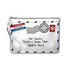Celebrate Shop Postcard 'Santa's Workshop' Wristlet Wallet Silver ONE SIZE