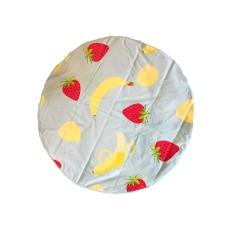 Celebrate Shop Printed Round Cotton Summer Fruit Beach Large Towel 59″ Diameter (Blue/Yellow Bananas & Strawberry)