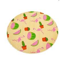 Celebrate Shop Printed Round Cotton Summer Fruit Beach Large Towel 59″ Diameter (Yellow/Pink Watermelon & Cactus)