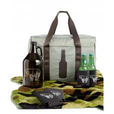 Celebrate Shop Tailgate Set with Camouflage Blanket, 4 Koozies, and Beer Growler