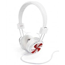 Celebrate Shop White and Red Whimsical Peppermint Swirl Headphones