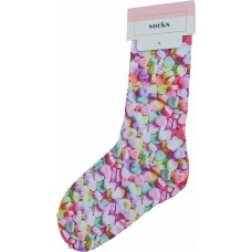 Celebrate Shop Women's Candy Hearts Printed Socks, Multicolor