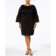 Charter Club Plus  Ruffled-Sleeve Dress (Black, 1X)