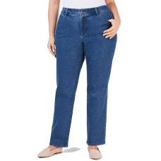 Charter Club Plus Size Dot-Print Tummy-Control Fashion Jeans