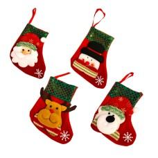 Christmas JoySet of 43D Christmas Theme Stockings Gift & Candy Bag & Tableware Holder Ornament Animated Santa Reindeer Snowman Dog