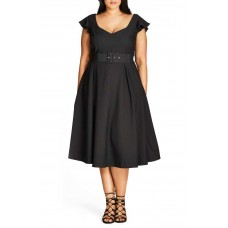 City Chic Flirty Flutter Dress (Black, 16W)