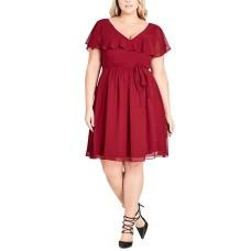 City Chic Flutter-Sleeve Fit & Flare Dress (Medıum Red, 18W Plus)