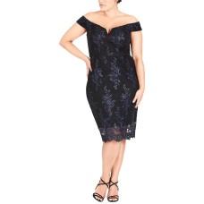 City Chic Trendy Floral-Lace Off-The-Shoulder Dress (Dark Blue/Black, 18W)