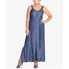 City Chic Women's Trendy Plus Denim Longline Maxi Dresses