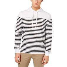 Club Room Men's Stripe Pullover Hoodie (Bright White, L)