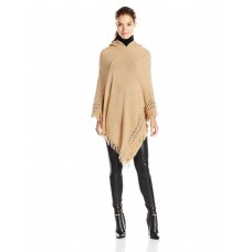 Collection XIIX Women's Ladder Stitch Hooded Poncho, Sepia Sand, One Size