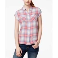Confess Juniors' Plaid Short-Sleeve Shirt, Size SMALL