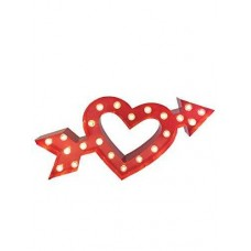 Cupids Heart and Arrow Love Marquee Metal Sign 18″x 9″ (Red)