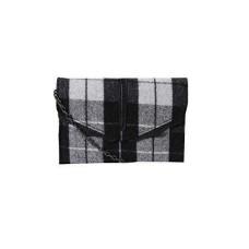 Danielle Nicole Womens Hudson Wool Plaid Crossbody Handbag B/W Small
