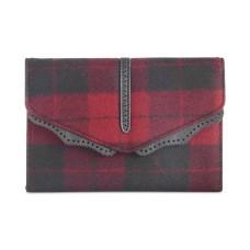 Danielle Nicole Womens Hudson Wool Plaid Crossbody Handbag Red Small