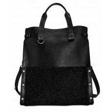 Danielle Nicole Womens Minx Faux Leather Colorblock Tote Handbag Black Large