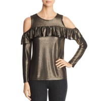 Design History Women's Cold Shoulder Slit Elbow Sweater Top, Onyx, X-Small
