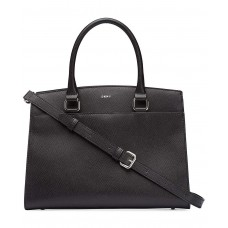DKNY Medium Leather Satchel (Black)