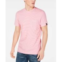 Dkny Men's Feeder Stripe Pocket T-Shirt (Pink, L)