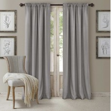 """Elrene Home Fashions 026865721836 3-in-1 Blackout Energy Efficient Lined Rod Pocket Window Curtain Drape Panel, 52"""" x 84"""", Silver"""
