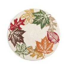 Elrene Leaf Wreath Braided 15″ Round Placemat
