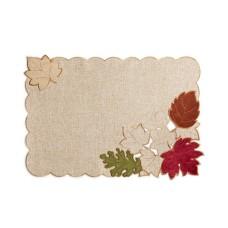Elrene Serene Leaves Velvet Table Linens Placemat (Beige)