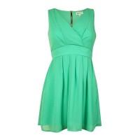 Emerald Sundae Juniors' V-neck Belted Chiffon Dress(3, Mint)