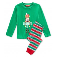 Family Pajamas Crushed It Stripe Pajama Set, Available in Toddlers and Kids (Green, 2T/3T)