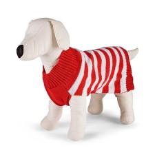 Family Pajamas Matching Holiday Stripe Pet Sweater (Red, M)