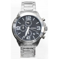 Fossil Silver Tone, Stainless Steel, Chronograph, Bracelet Watch Bq2182