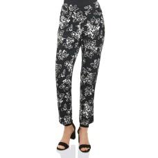 Foxcroft Rachel Floral Print Ankle Pants (Black, 6)
