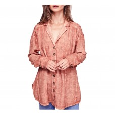 Free People Women's All About The Feels Button Shirt (Peach, Medium)