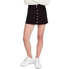 Free People Women's Joanie Printed Cord Skirt (Black Combo, 27)