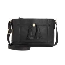 Giani Bernini Pebble Leather Tassel Crossbody (Black)
