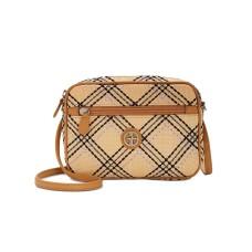Giani Bernini Straw Plaid Convertible Camera Bag (Beige)