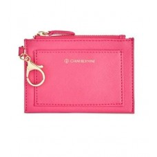 Giani Bernini Womens Faux Leather Keychain Coin Pouch Pink O/S
