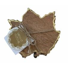 Harvest Festival Maple Leaf Wood Coasters Gold Trim Set Of 4
