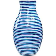 Heart of Haiti Blue Striped Papier Mache Vase