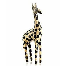 Heart of Haiti Full Circle Hand-Made 10-inch Wood Giraffe Figurine, Yellow/Black