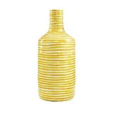 Heart of Haiti Paper Mache Vase Yellow Stripe NEW $62