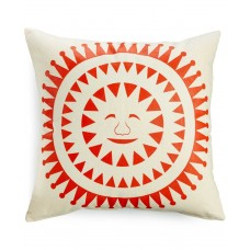 Heart of Haiti Sun Face Printed Cushion (White/Orange)