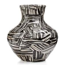 Heart of Haiti Vase, Black & White Bulb Papier Mache