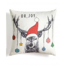 Holiday Lane Deer With Ornaments 18″ Square Decorative Pillow (Ivory)
