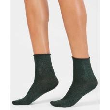 HUE Metallic Roll-Top Shortie Socks (Evergreen)