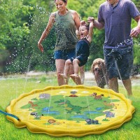 Huge 68″ Splash Water Play Mat for Little Kids & Toddlers, Water Sprinkler, Water Inflatable Wading Pool for Summer Fun Outdoor Water Toys for Boys & Girls