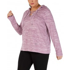 Ideology Women's Plus Size Space-Dyed Lace-Up Hoodie