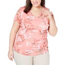 INC International Concepts Double-Layer V-Neck T-Shirt (Bright Orange, 1X Plus )
