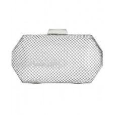 INC International Concepts Hope Mesh Geo Small Clutch (Silver)