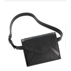INC International Concepts Metallic-Detail Envelope Belt Bag (Black, M)